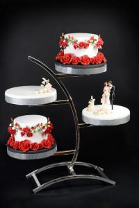 Tragant-Blumenbouquet, elfenbein, 14cm, 4 Stück