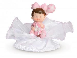 Taufaufsatz Baby auf Party, rosa, 2-fach sortiert, Polystone, 10cm, 8 Stück