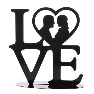 """Tortenaufsatz """"Love"""", Silhouette aus Metall, 18cm, 4 Stück"""