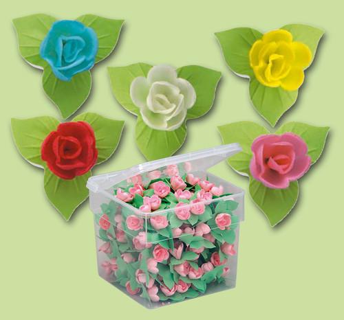 Waffel-Blumen, lieferbar in den Farben hellblau, rosa und rot