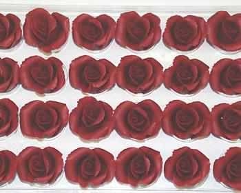 Marzipan-Rosen, klein, burgund