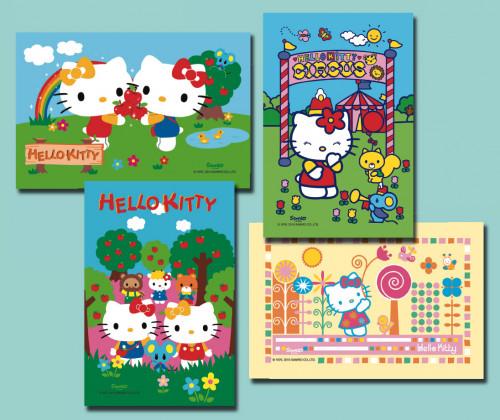 Waffel-Aufleger Hello Kitty, klein, 4-fach sortiert, eckig