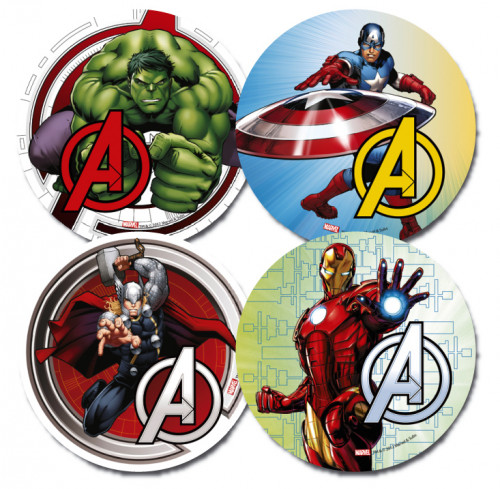 Waffel-Aufleger Avengers, 4-fach sortiert, 21cm, 12 Stück