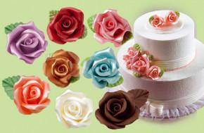 Rosen mit Blatt aus modellierbarer Zuckermasse