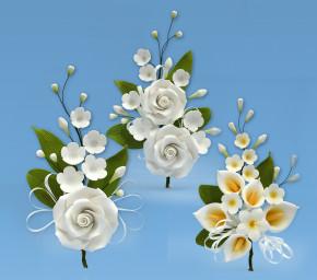 Tragant-Blumenbouquet, weiss, 3-fach sortiert, nicht essbar
