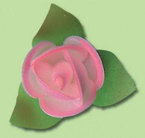 Waffel-Blumen mit Blättern, rosa