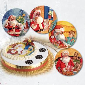 Waffel-Aufleger Weihnachtsmänner, groß,  4-fach sortiert