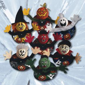 Halloween-Einstecker, aus Chenille mit Papierrosette am Kunststo