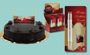 Kerzen-Banner Happy Birthday, im Verkaufsdisplay