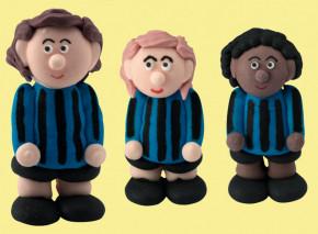 Zucker-Fußballer, blau, 3-fach sortiert