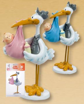 Taufaufsatz Storch mit Baby im Tragetuch, mit dekorativer Verkau