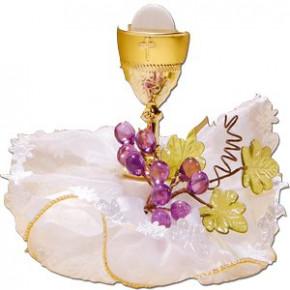 Kommunion-Kelch mit Weintrauben, halbseitig, Kunststoff,