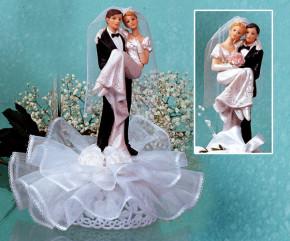 Brautpaar auf Tüll, mit Blumendekor, 2-fach sortiert, Polystone