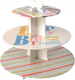 Tortenständer für Muffins, Platten 35, 30 und 20cm, Höhe 33cm, Papier/Pappe