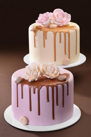 Drip Choc Cake (Tropfenkuchen), Schokoglasur, Perlglanz, gold, 180g, 1 Stück