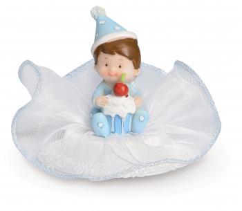 Taufaufsatz Baby auf Party, blau, 2-fach sortiert, Polystone, 10cm, 8 Stück