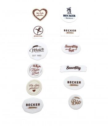 Waffel-Brotaufleger (Brotmarke) oval, mit Ihrem Namen oder Logo