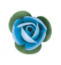 Waffel-Blumen mit Blättern, blau, 40mm, 200 Stück