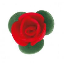 Waffel-Blumen mit Blättern, rot, 40mm, 200 Stück