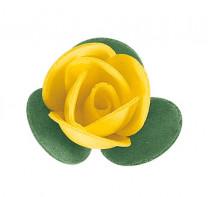 Waffel-Blumen mit Blättern, gelb, 40mm, 200 Stück