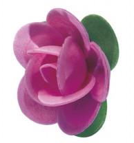 Waffel-Rose mit Blättern, rosa, 45mm, 100 Stück