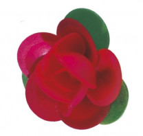 Waffel-Rose mit Blättern, rot, 45mm, 100 Stück