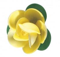 Waffel-Rose mit Blättern, gelb, 45mm, 100 Stück