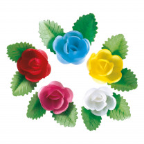 Waffel-Rose mit Blättern, sortiert, 50mm, 100 Stück