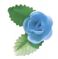 Waffel-Rose mit Blättern, blau, 50mm, 100 Stück