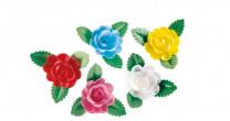 Waffel-Rose mit Blättern, sortiert, 60mm, 50 Stück