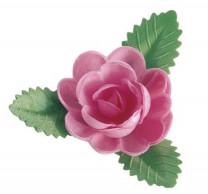 Waffel-Rose mit Blättern, rosa, 60mm, 50 Stück