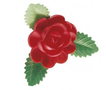 Waffel-Rose mit Blättern, rot, 60mm, 50 Stück