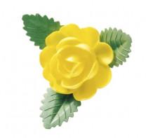 Waffel-Rose mit Blättern, gelb, 60mm, 50 Stück