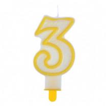 """Große Kerzen-Zahl """"3"""" mit Halter"""