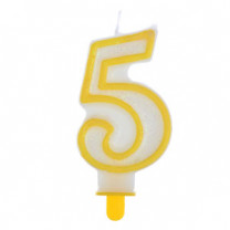 """Große Kerzen-Zahl """"5"""" mit Halter"""