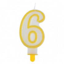 """Große Kerzen-Zahl """"6"""" mit Halter"""
