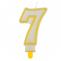 """Große Kerzen-Zahl """"7"""" mit Halter"""