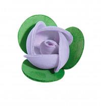 Waffel-Rose mit Blättern, lila, 35mm, 200 Stück