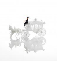 Weiße Kutsche, Kunststoff, 13cm, 5 Stück