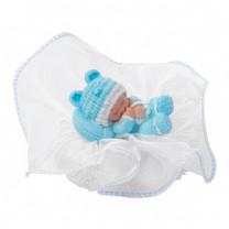Taufaufsatz Baby schlafend auf Tüllsockel, blau, Polystone, 10cm, 12 Stück