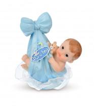 Taufaufsatz Baby im Tragetuch, blau