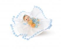 Taufaufsatz Baby mit Bär, blau, 4-fach sortiert, Polystone