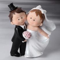 Brautpaar mit Zylinder und Blumenstrauß, Polystone, 10cm, 4 Stück