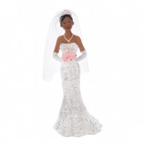 Braut mit Blumenstrauß, die Figur ist einzeln und kann daher gut kombiniert werden, Polystone, 11cm, 4 Stück