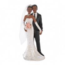 Brautpaar mit Brautstrauß, Polystone, 12,5cm, 4 Stück