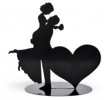 Tortenaufsatz getragene Braut mit Herz, Silhouette aus Metall, 18cm, 4 Stück