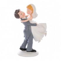 Brautpaar hochhebend, Polystone, 16,5cm, 2 Stück
