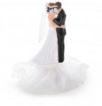 Brautpaar auf Tüllsockel, Tüllschleier mit Blumenstrauß/hinter Buch, Polystone, 14,5cm, 4 Stück