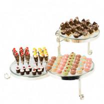 Exclusive Torten-Etagere mit 3 Glasplatten a 30cm, ideal für Torten und Süßes, auch für Canapes und Muffins geeignet, Metall, 72x62x33cm, 1 Stück