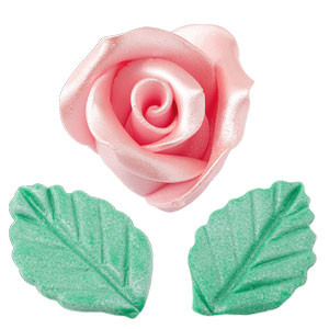 Rosen mit Blättern aus modellierbarer Zuckermasse, Perlmutt-Effekt, klein, rosa